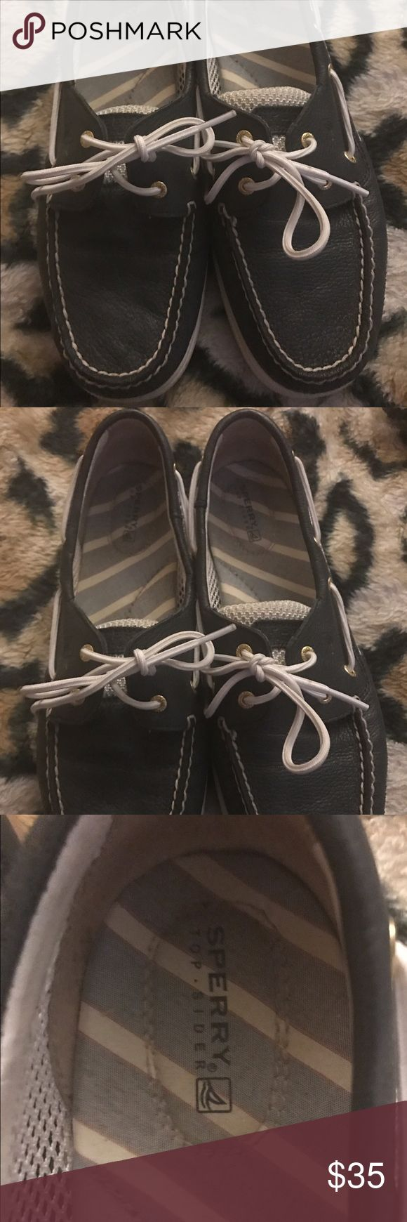 Women's Navy Blue and White Sperrys! Navy Bkue and white, genuine leather Sperrys, Gently used. Worn about two times. Very Comfortable. Great quality! Sperry Top-Sider Shoes Flats & Loafers