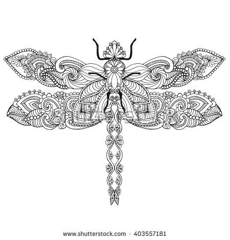 Zentangle stylized dragonfly. Ethnic patterned vector illustration. African, indian, totem, tribal, zentangle design. Sketch for adult coloring page, tattoo, posters, print or t-shirt. - stock vector