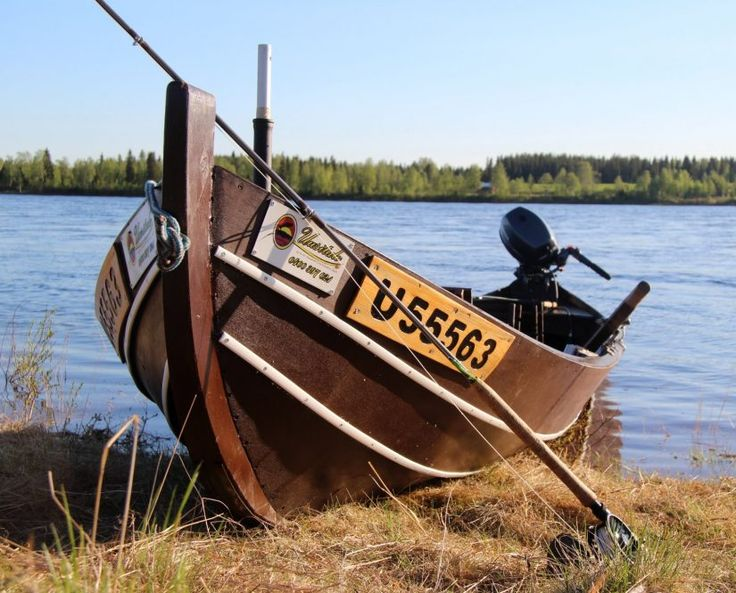 River boat for salmon fishing in the Tornio River in Lapland