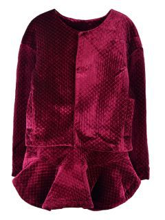 Shop Velvet Quilted Jacket and Ruffled Skirt In Red