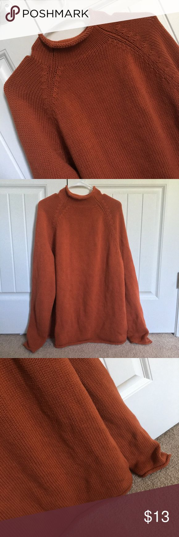 J. Crew Vintage Mens Sweater J. Crew Vintage Knit Mens Turtleneck sweater in a rust orange color. perfect condition! Size XL. 100% Cotton. ✨ J. Crew Sweaters Turtleneck