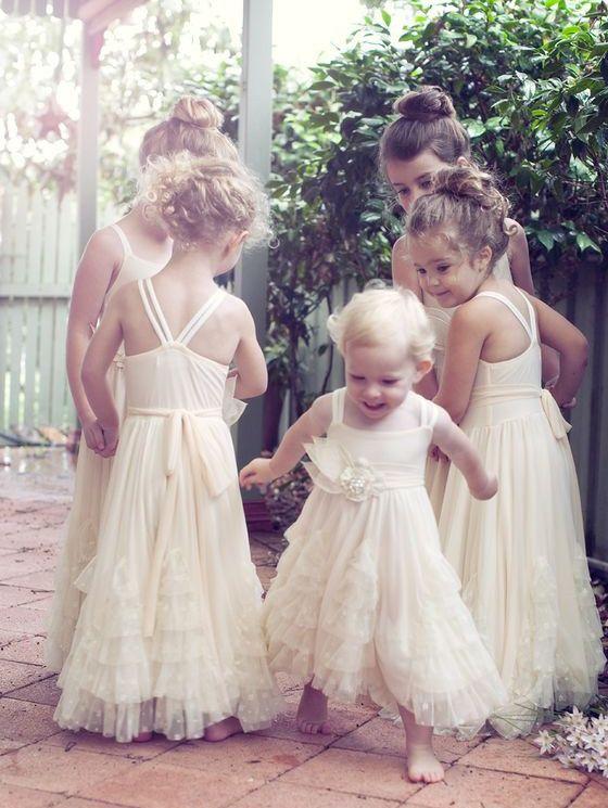 Unique Straps Cream Long Flower Girl Dress