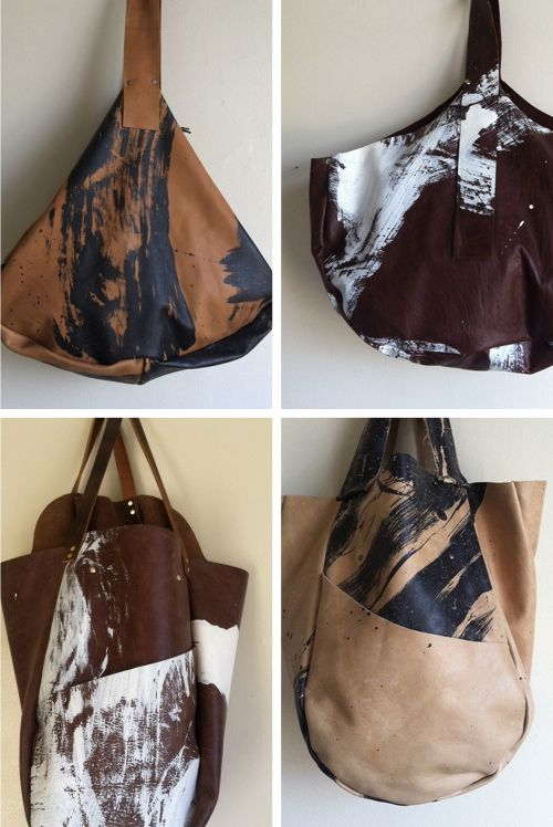 leather painted bags