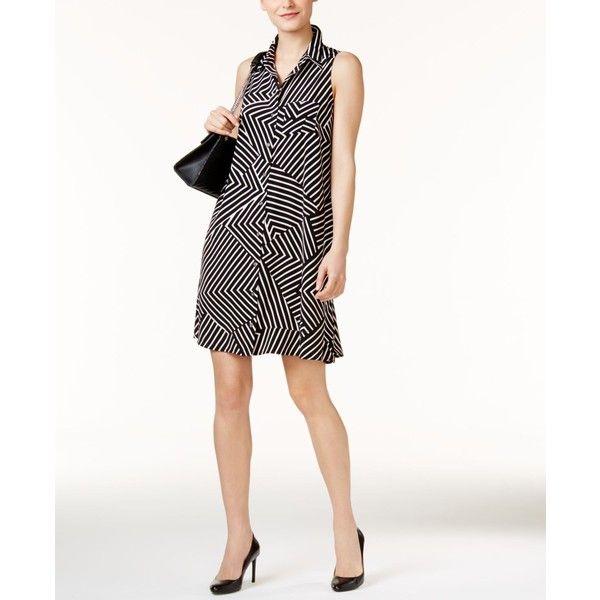 Alfani Petite Geo-Print Shirtdress, ($90) ❤ liked on Polyvore featuring dresses, striped, shirt dress, white striped dress, stripe dresses, white day dress and petite shirt dress