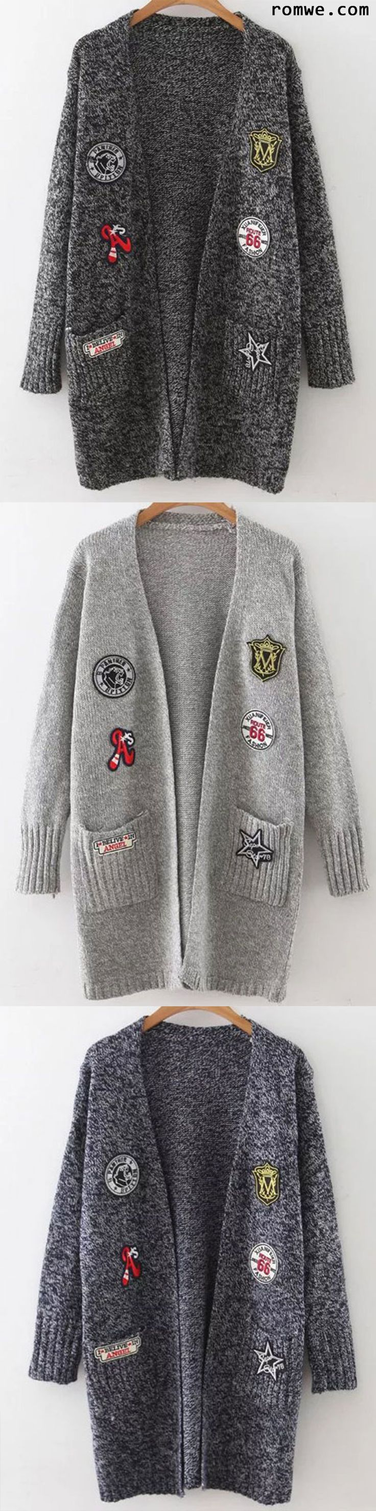 Marled Knit Patch Long Cardigan