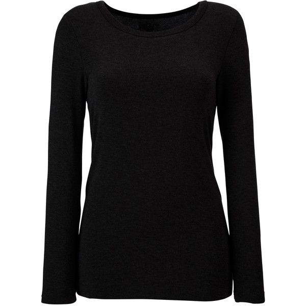 DKNY Seven Easy Pieces Long Sleeve Pyjama Top ($39) ❤ liked on Polyvore featuring tops, shirts, long sleeves, sweaters, blusas, long sleeve shirts, black long sleeve shirt, dkny shirt, longsleeve shirt and shirts & tops