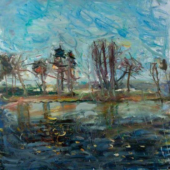 DUNCAN SHANKS Moonrise Winter River (1976)