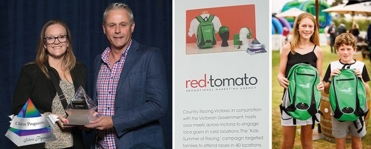 Red Tomato announced a PPAI Silver Pyramid Award Winner!  January 31, 2018- Red Tomato is proud to be recently awarded the Promotional Products Association International (PPAI) Silver Pyramid Award in Las Vegas.  They were named the Silver Pyramid Award for their work with Country Racing Victoria (CRV) Kids Program.