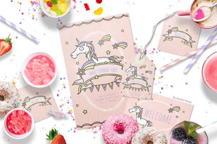 30%OFF Little queen graphic pack with unicorn party printables :)