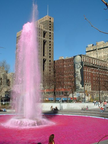 Love Park with pink water. by chrisinphilly5448, via Flickr