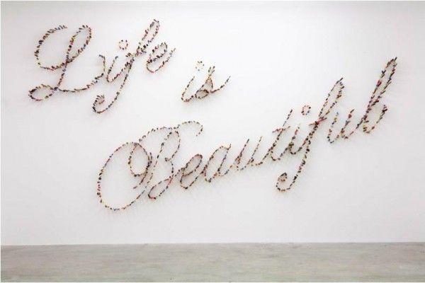 Life is Beautiful. Farhad Moshiri. (Those are Knives).: Artists, Wall Decor, Life Is Beautiful, Galleries Wall, Farhad Moshiri, Words Art, The Hundreds, Art Installations, Knives