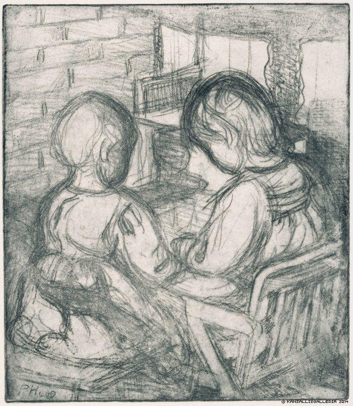 Pekka Halonen (1865-1933) Tytöt takan ääressä / Girls in front of the fireplace 1909 - Finland