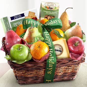 Happy Holidays Fruit Basket.  See more at www.pro-gift-baskets.com!