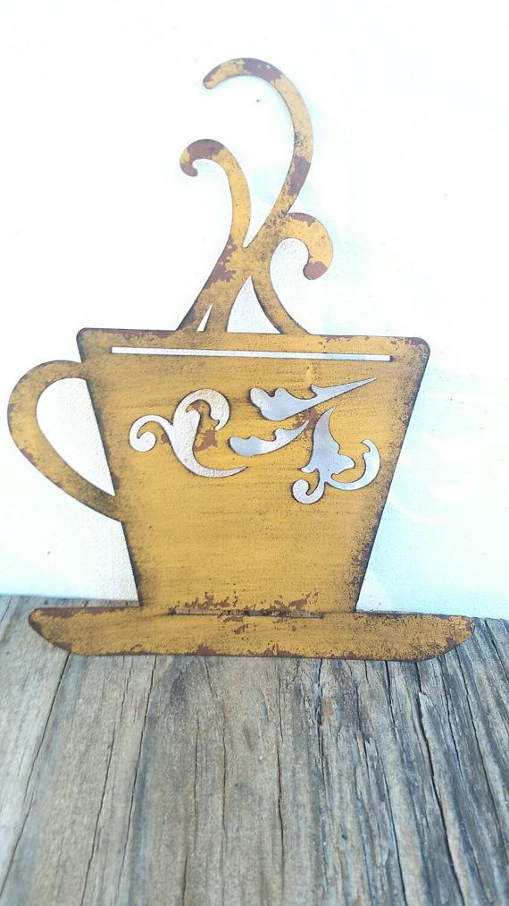 French Country Wall Decor Kitchen : Laser cut metal teacup kitchen wall art rustic yellow