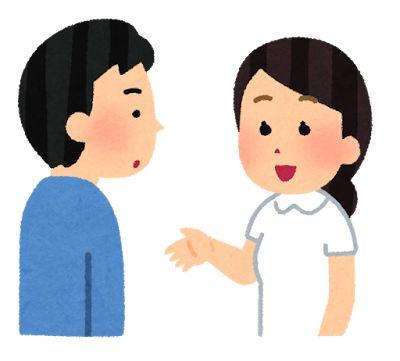 家族に説明をする看護師さんのイラスト