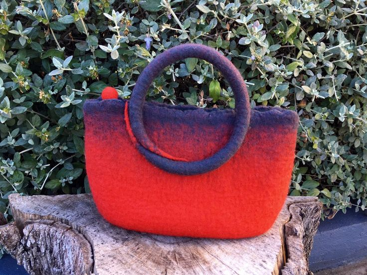 Hand-felted hand bag, red and charcoal, merino by SilkWoolTouch on Etsy