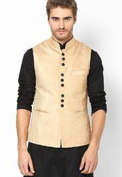 See Designs Beige Solid Slim Fit Nehru Jacket Men