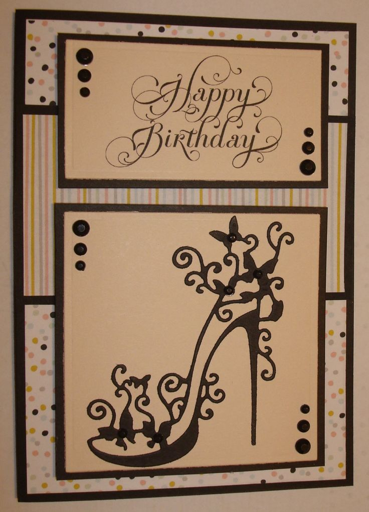 Hand made birthday card using tattered lace shoe die