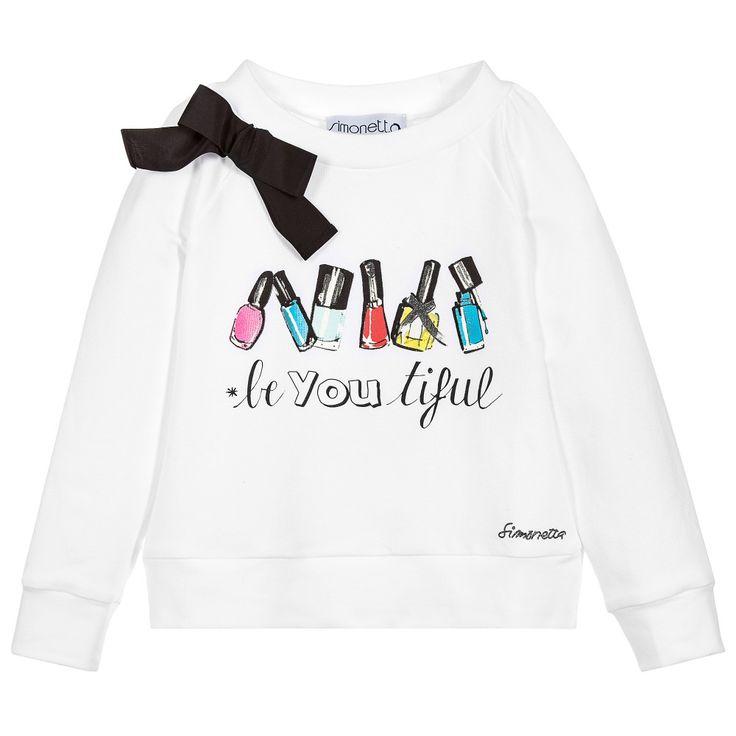 Simonetta Girls White Cotton Sweatshirt at Childrensalon.com