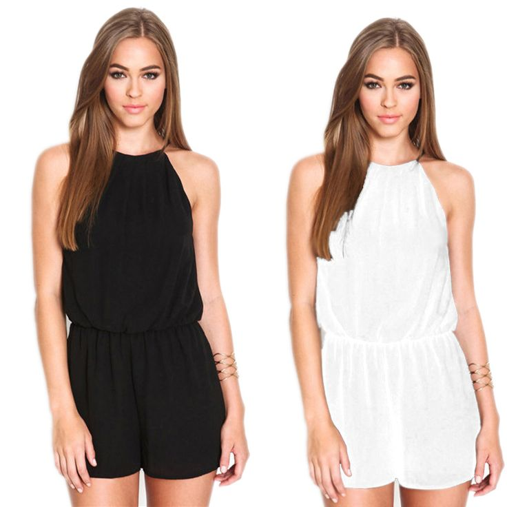 Women's Playsuit Rompers Overalls Summer Casual Black Sleeveless Halter Jumpsuit