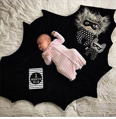 Black Bat Blanket Baby Play Mat Gothic Cool Different Punk Alternative Big Gift