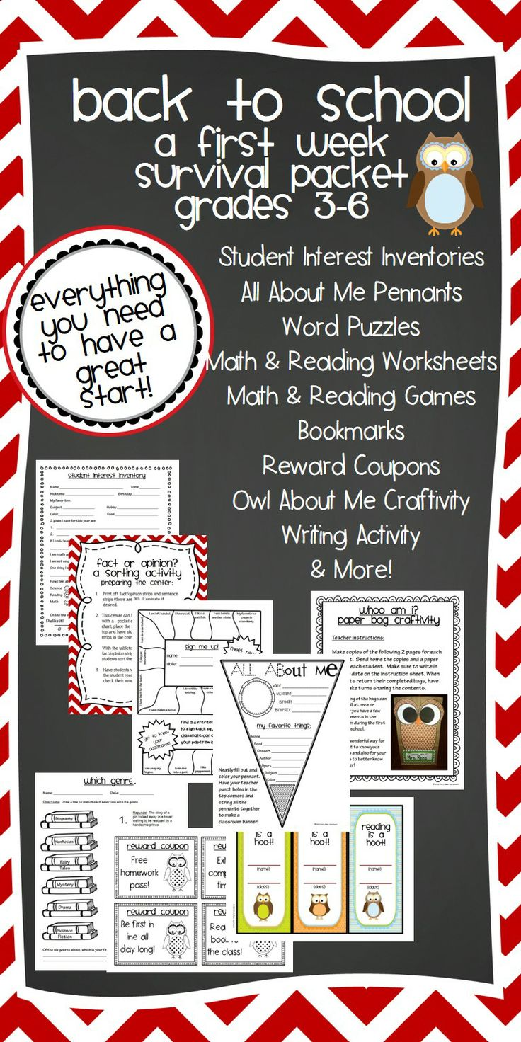 Back to School First Week Survival Packet for grades 3-6.  Back to School planning has never been easier.  61 page resource includes All About Me banners, Owl About Me Craftivity, Student Interest Inventories, Owl-Themed Reward Coupons, Owl Treat Bag Toppers, Reading and Math Worksheets and Center Games, Word Search, and SO MUCH MORE!  I seriously cannot wait to use this with my new class!