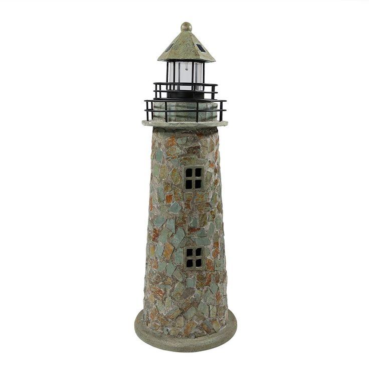Sunnydaze Cobble Solar LED Lighthouse, 35 Inch Tall, Grey, Outdoor Décor