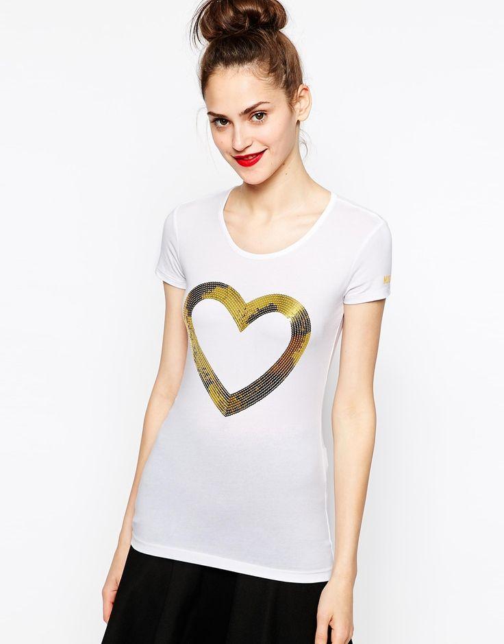 Love Moschino Manga corta camiseta con el corazón Firma de lentejuelas en color Blanco (WhiteGold) | Lyst
