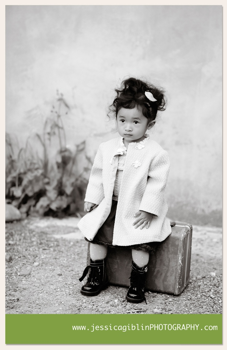 Adorable toddler with vintage suitcase. Taken by @jessica giblin photography