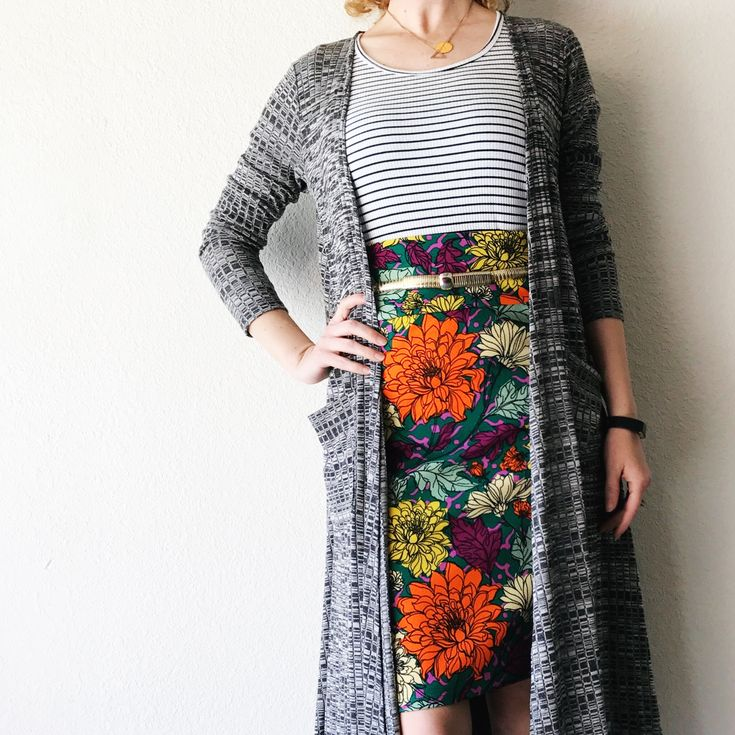 LuLaRoe Cassie I Sarah Cardigan I Classic Tee by LuLaRoe Jaime Chapin II See this photo and more on Instagram @lularoejaimechapin  Pattern mixing I Floral Skirt I Stripes