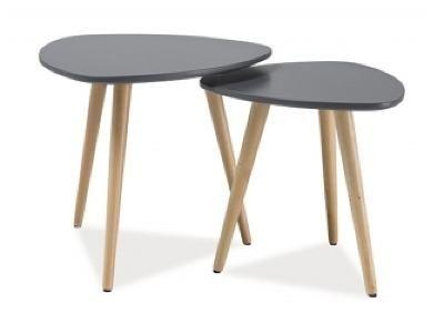 LIFE nábytek Konferenční stolky - komplet NORA A šedá/buk