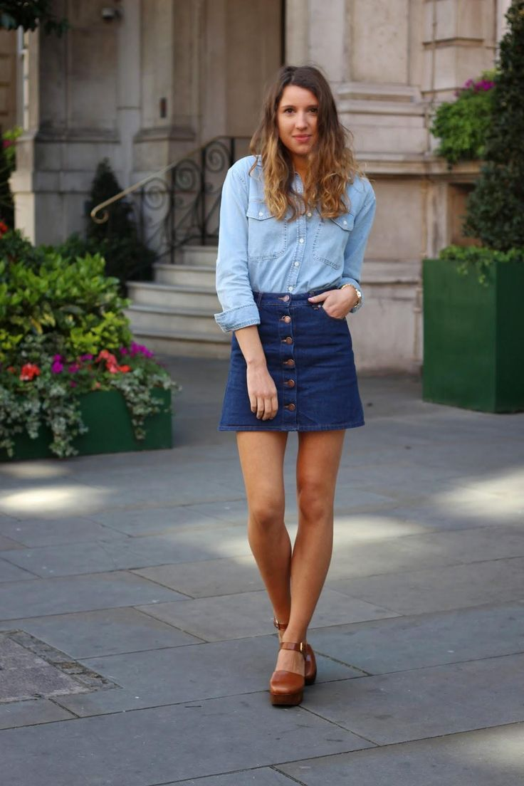 20 Modern Ways to Style a Denim Skirt for Spring - double denim ensemble with a dark wash a-line denim skirt + light wash chambray shirt worn with brown leather platform heels
