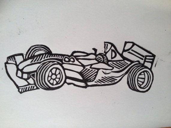 Racing car linoprint on Etsy, £4.00