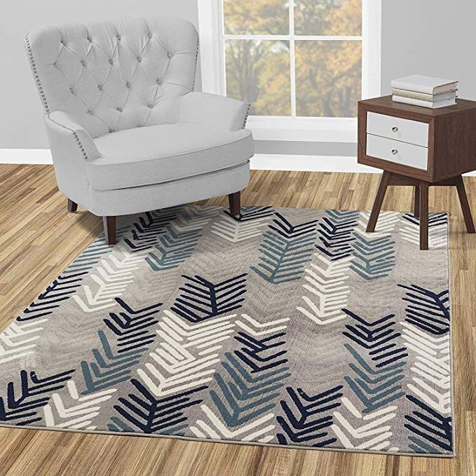 Diagona Designs Contemporary Floral Design Modern 5 X 7 Area Rug 63 W X 87 L Gray Navy Teal Ivory Contemporary Area Rugs Area Rugs Blue Carpet Bedroom 5 by 7 area rugs