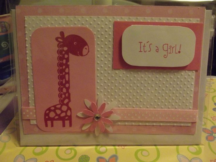 Baby girl card that I made using Close to my Heart stamps and ink.