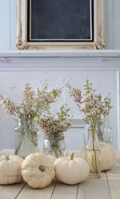 from french country cottage- love this white pumpkin idea!