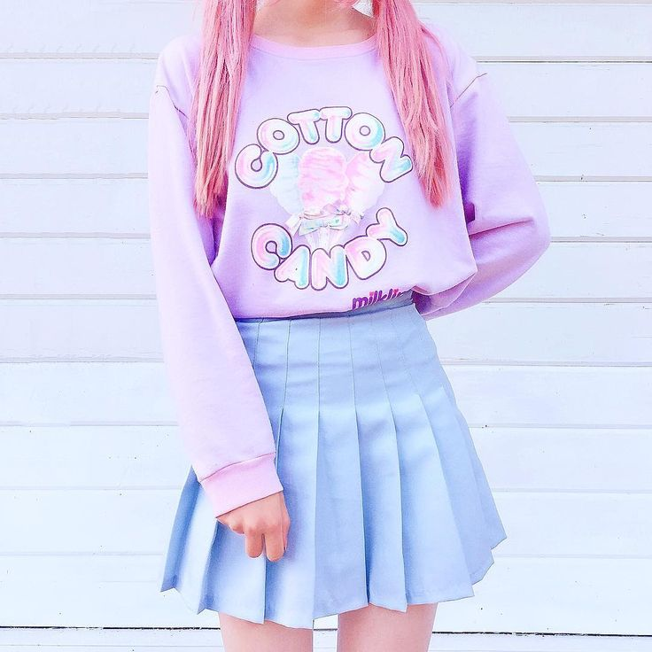 ♡ ƑASHiON ♡ 'cotton candy' graphic pull over sweater – pleated skir…