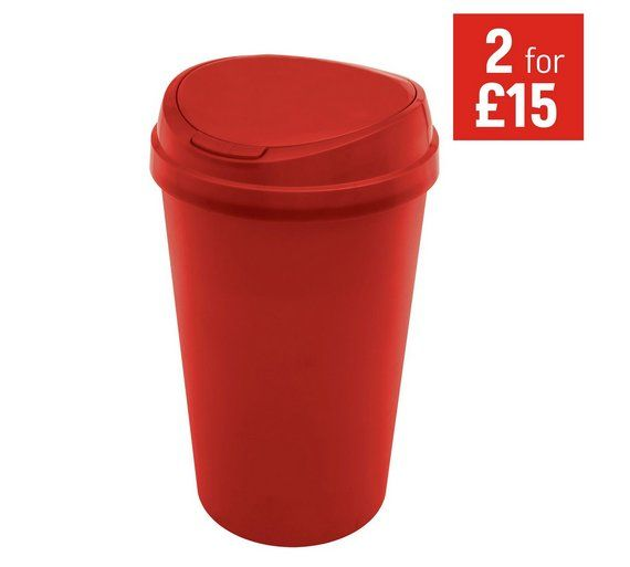 Buy HOME 45 Litre Touch Top Kitchen Bin - Red at Argos.co.uk - Your Online Shop for Kitchen bins, Kitchenware, Cooking, dining and kitchen equipment, Home and garden.