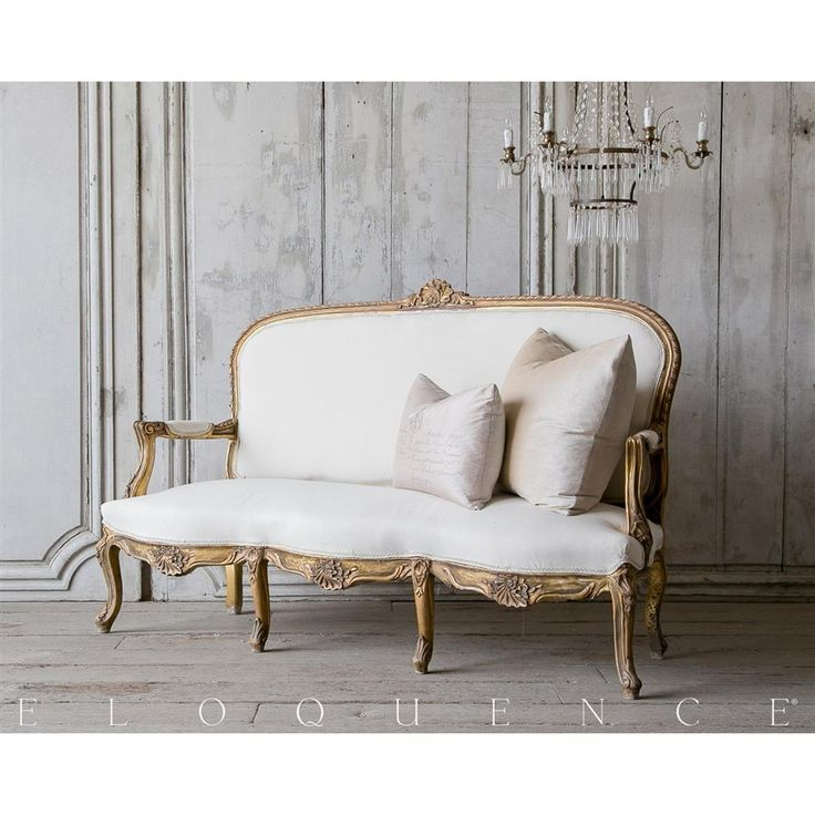Eloquence® Vintage French Gilt Chestnut Settee Sofa 1940