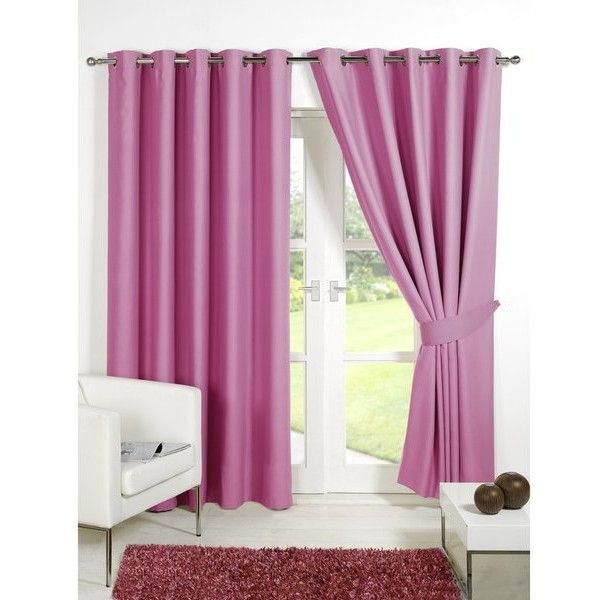 Dreamscene Blackout Eyelet Curtains ($86) ❤ liked on Polyvore featuring home, home decor, window treatments, curtains, pink, black out curtains, blackout window treatments, pink home decor, pink window treatments and pink eyelet curtains