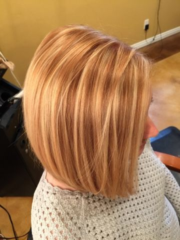 Blonde highlights on natural copper hair