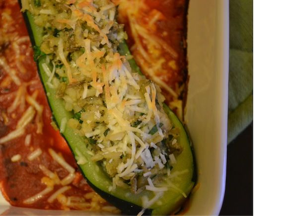 Lentil and goat cheese stuffed zucchini