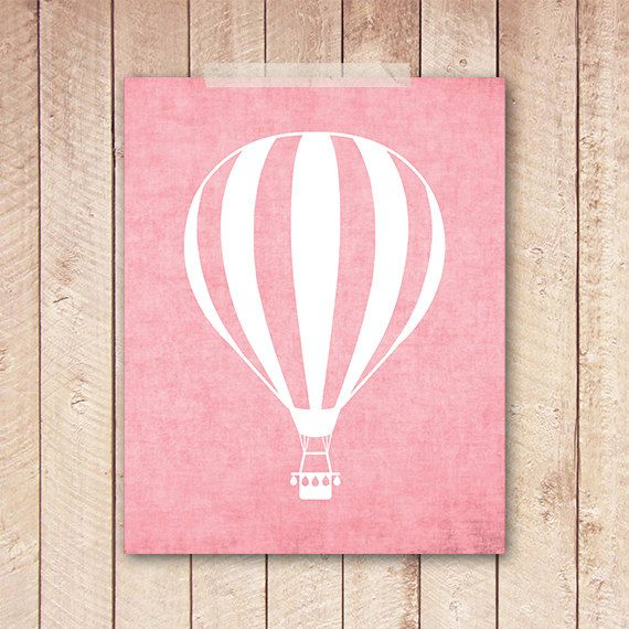 8x10 Art Print PRINTABLE Pink Hot Air by PaperCanoePrintables, $5.00