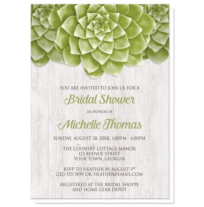 I wanted to share with you these Succulent Whitewashed Wood Bridal Shower Invitations? Do you like them?  | Cool and fresh succulent bridal shower invitations designed with three green succulents at the top of the invitations over a light whitewashed wood background illustration.These pretty succulents in their fresh green color against the whitewash wood color makes these invitations a lovely choice for Spring and Summer bridal shower celebrations.