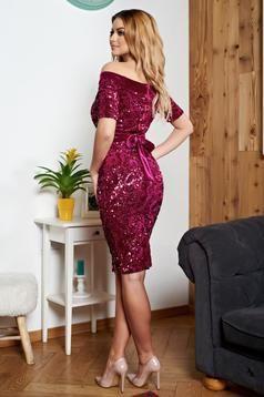 rochii de ocazie cu paiete culoare roz croi midi