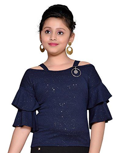 20a2e2d7184f5 Hunny Bunny Big Girls  Solid Cold Shoulder Ruffles Sleeves Shimmer Fabric  Top
