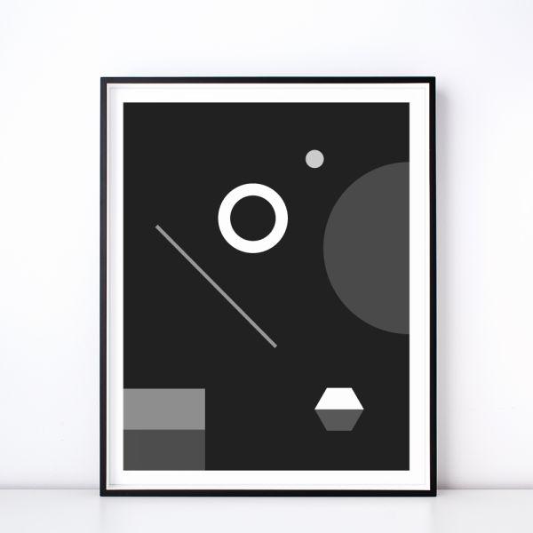 Soiree No. 1 Monochrome Geometric Art Print