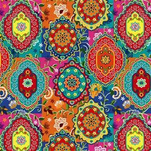 Moroccan Style Wallpaper Paisley Print Colorful Background