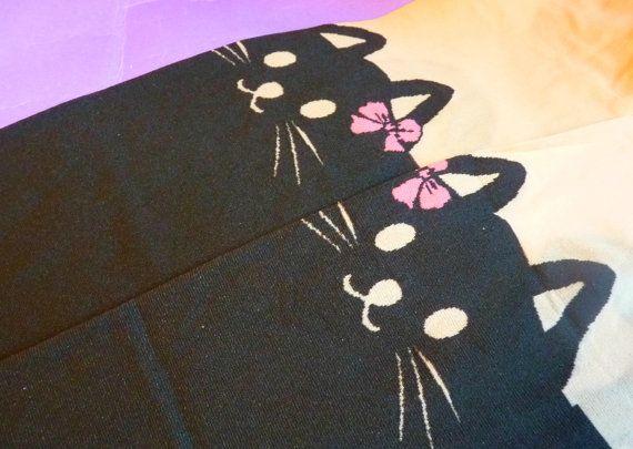 Cute Pink Bow Black Cat Knee High Hosiery Pantyhose Tattoo Socks Leggings Tights Stockings