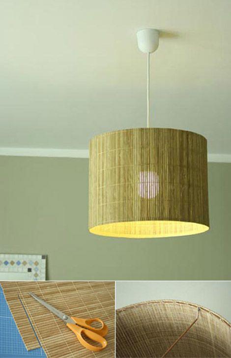 Ingeniosa lámpara con estera de bambú